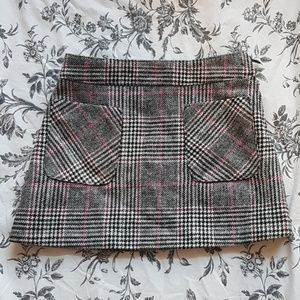 Girls pink/ grey tweed skirt with front pockets 3T